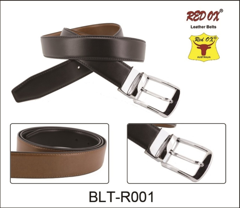 3.5cm Reversible Leather Belts (Black/Brown) with Silver Metal Buckle BLT-R001S