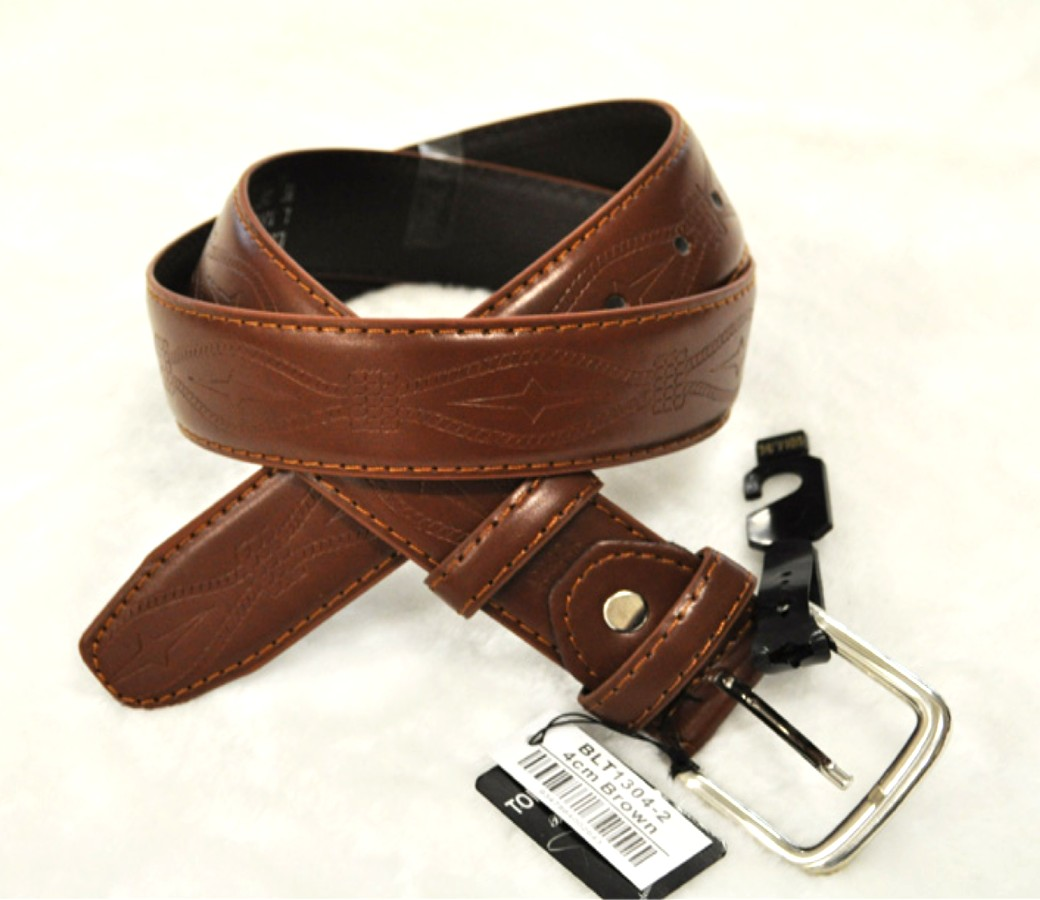 Bulk Buy Leather Belts 4.0cm Brown BLT1304-2