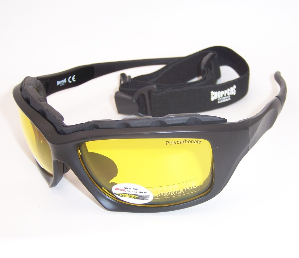 Choppers Convertible Night Drive Yellow Lens Goggles Glasses (Anti-Fog Coated) 8968-YL