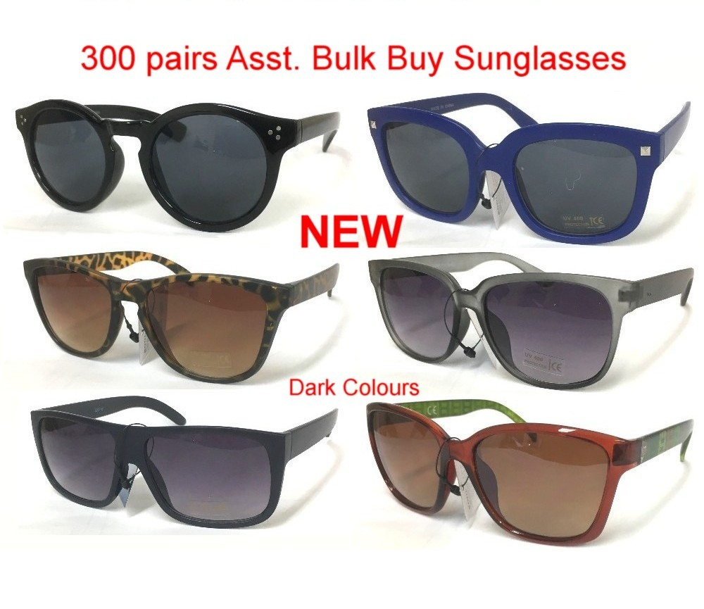 300pair Bulk Buy Dark Colour Plastic Fasion Sunglasses (261, LS672-2, Z261, Z257-B, RS832, L1620AC)