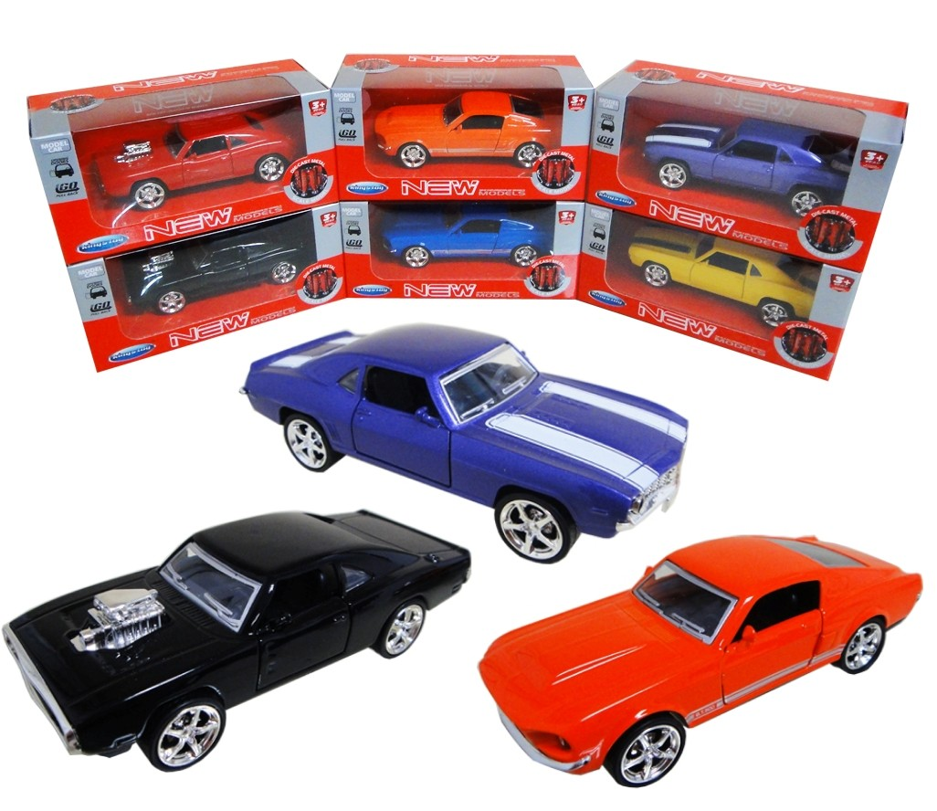 1:36 Diecast Muscle Cars 3 Assorted (Ford, Dodge, Chevrolet) FY6078W
