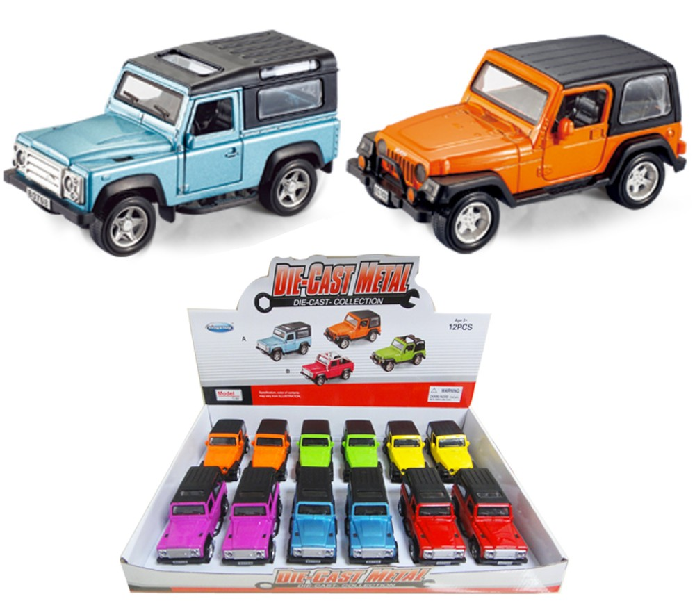 1:32 Diecast Cars 4WD 3 Assorted (Wrangler, Land Rover Defender) FY80708A-12D