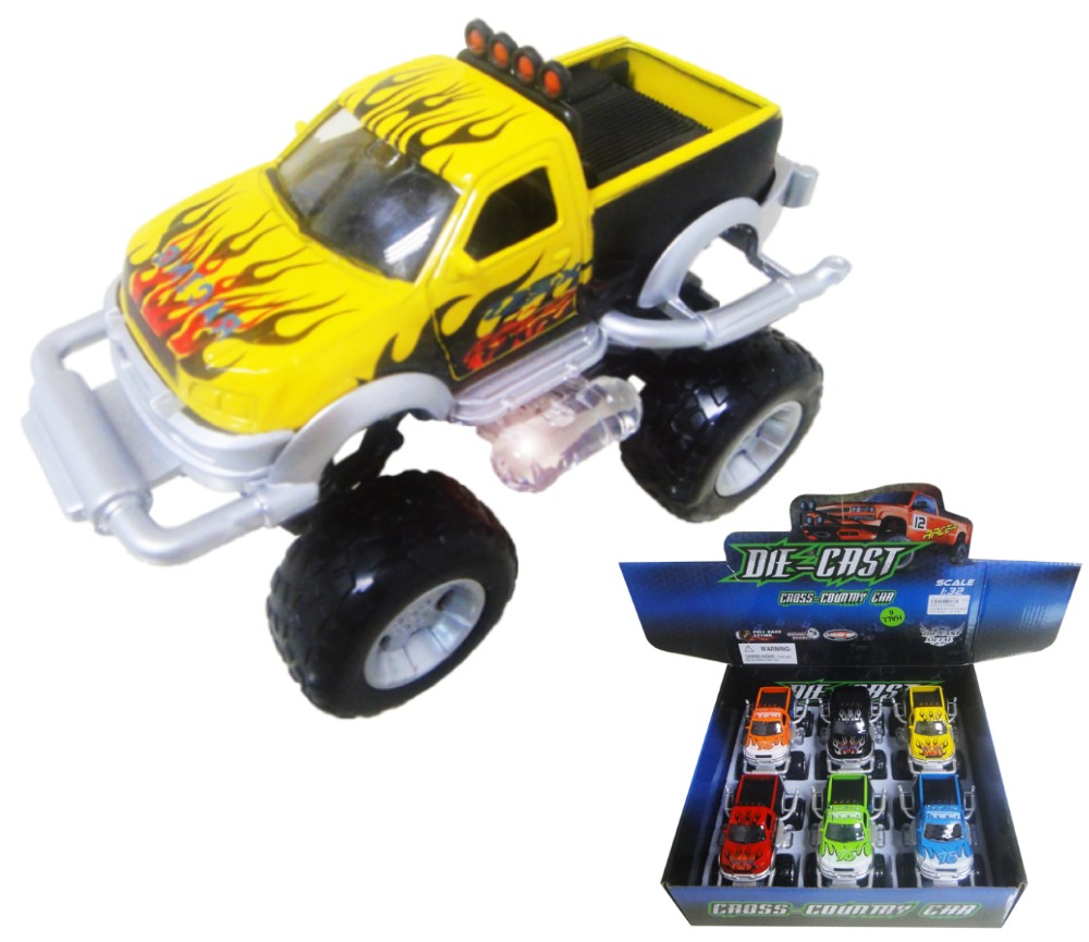 1:32 Diecast Model Off-Road Pick-Up with Flame 6 assorted FY8854-6D