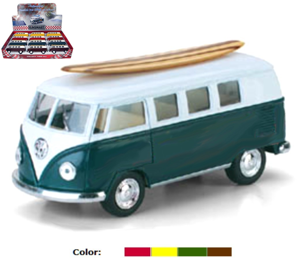 1:32 1962 VW Classical Bus & Wooden Surf Board (4 Colors) KT5060DS1