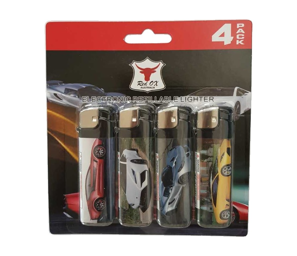 Car Pack of 4 Electronic Gas Refillable Lighters RF-834-Car-PK4