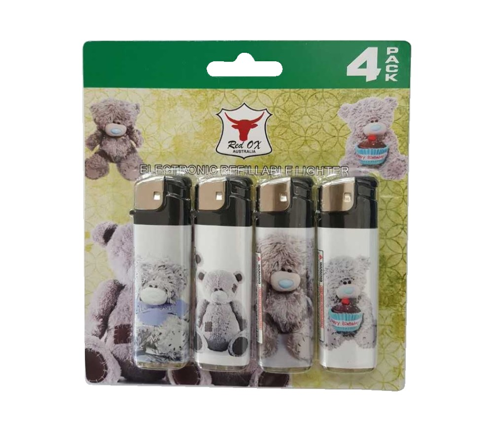 Teddy Pack of 4 Electronic Gas Refillable Lighters RF-834-Teddy-PK4
