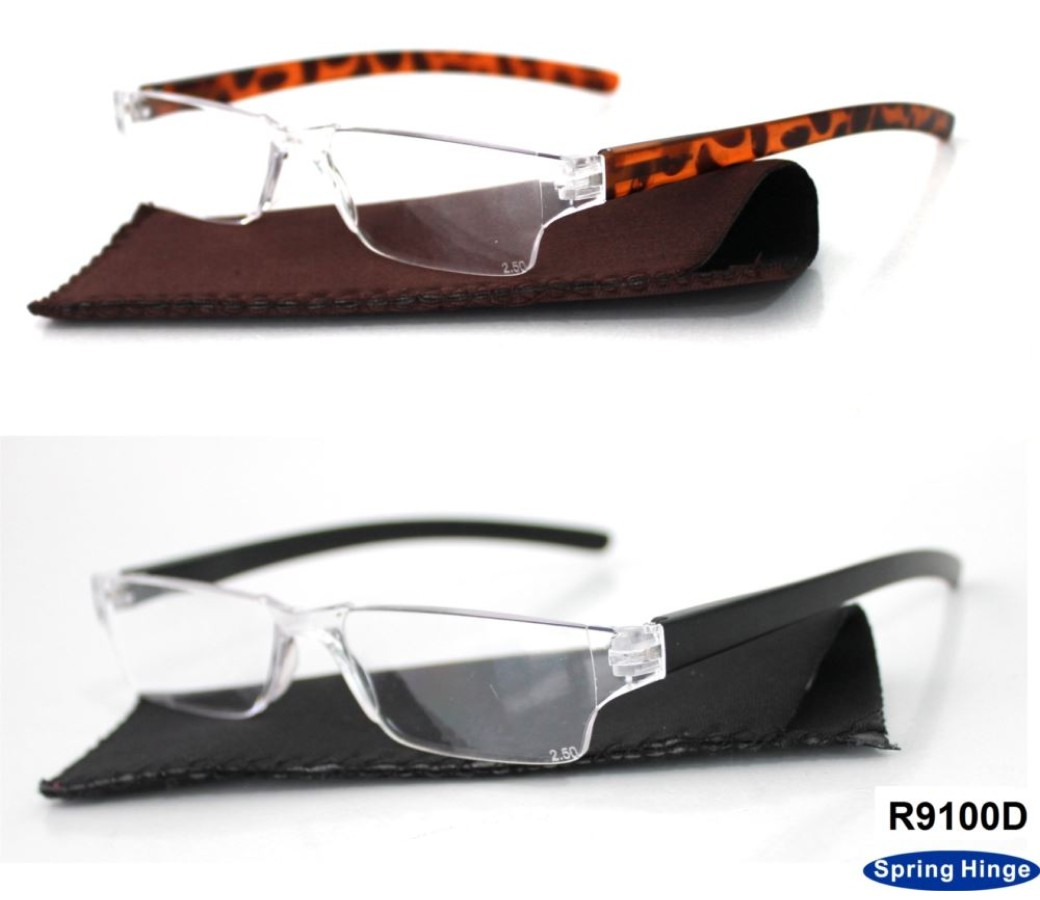 Half Frame Rimless Plastic Reading Glasses with Case + Display Tray R9100D