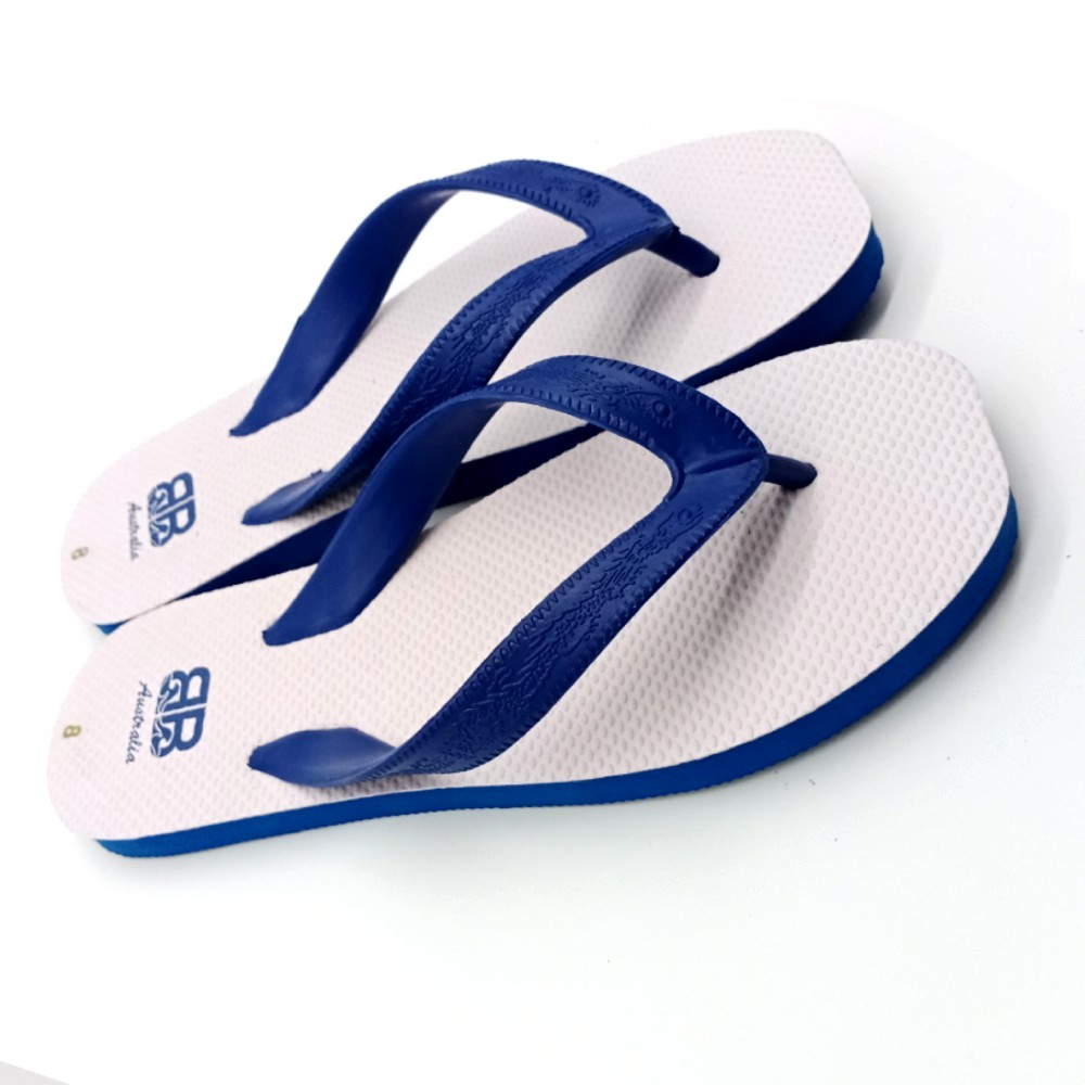 Mens Double Pluggers Sandals - White/Blue SLP-MD005