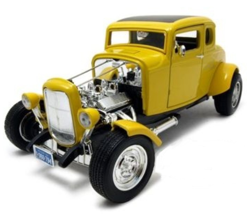 1:18 1932 Ford Five Window Coupe Hot Rod (Yellow) MM73172YL