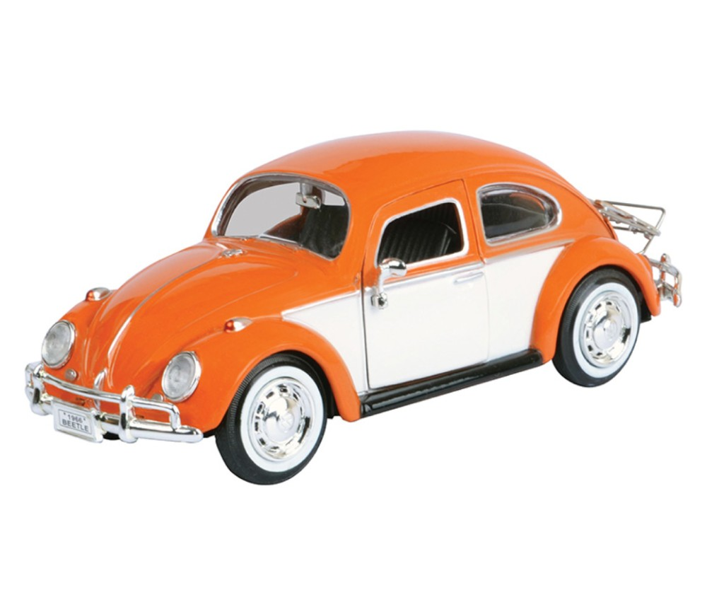 1:24 Volkswagen Classic Beetle with Rear Luggage Rack (Orange with White) - MM79558LR