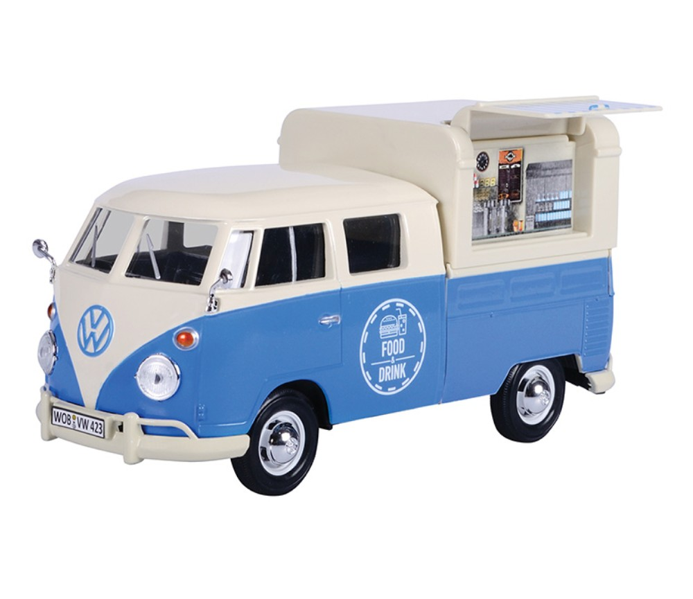 1:24 Volkswagen Type 2 (T1) Food Truck (White with Blue) MM79576FT