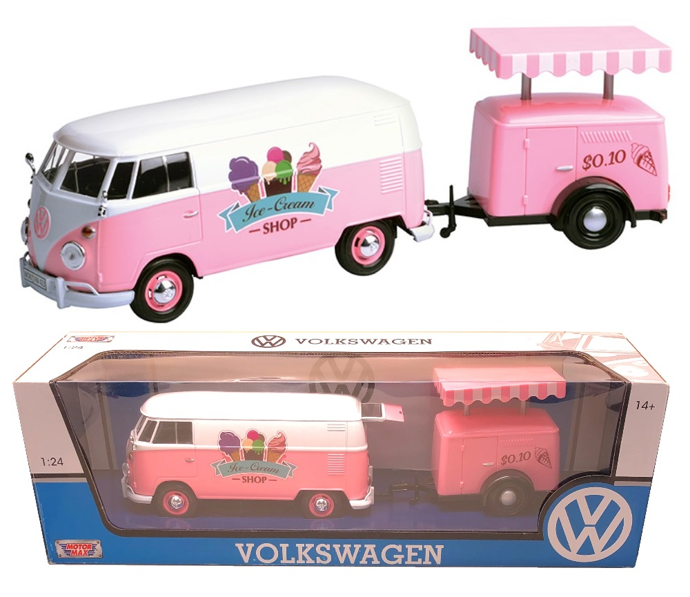 1:24 Volkswagen Type 2 (T1) - Delivery Van and Refrigeration Trailer (Pink with White) MM79672RT