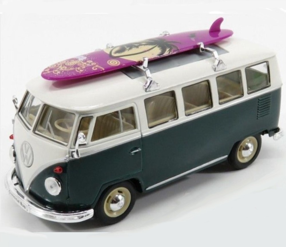 1:24 1963 VW Classical Bus with Surfboard (Green) WL22095SB-W(GR)