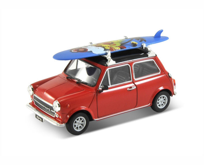 Mini Cooper 1300 with Surfboard - 1:24 (Red) WL22496SB-WR