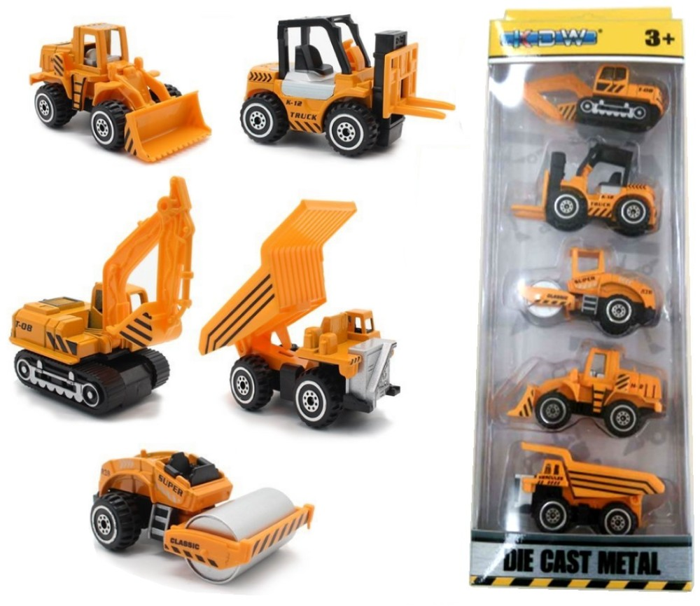 3'' Construction Cars (Free Wheel) in 5 Pcs Pack, Die-cast Model KDW820004W