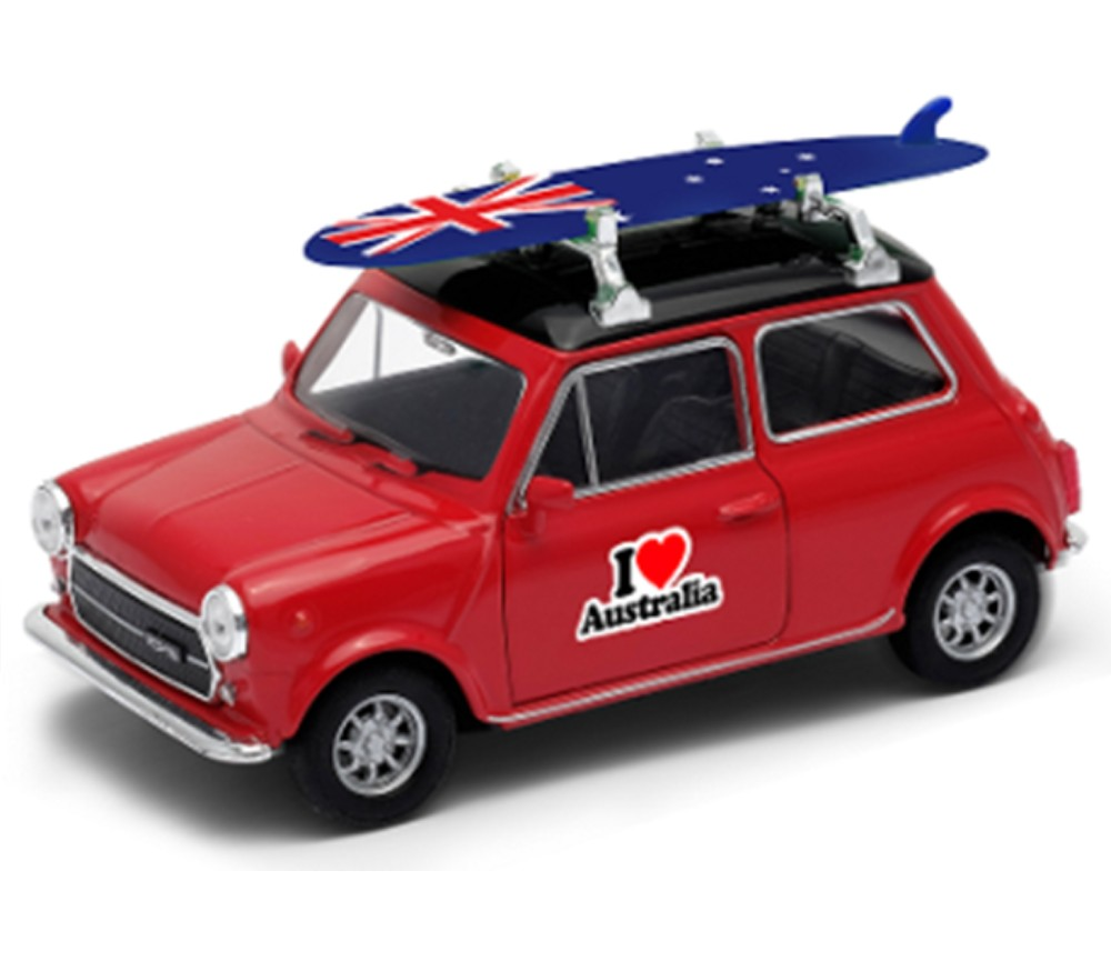 Mini Cooper 1300 With Surfboard & I Love Australia (1:36) WL43609SB-D-AU